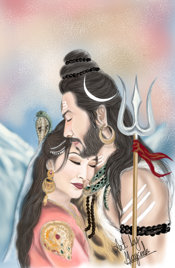 Shiv Parvati divine love painiting