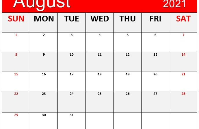 August 2021 Blank Printable Calendar Wallpaper