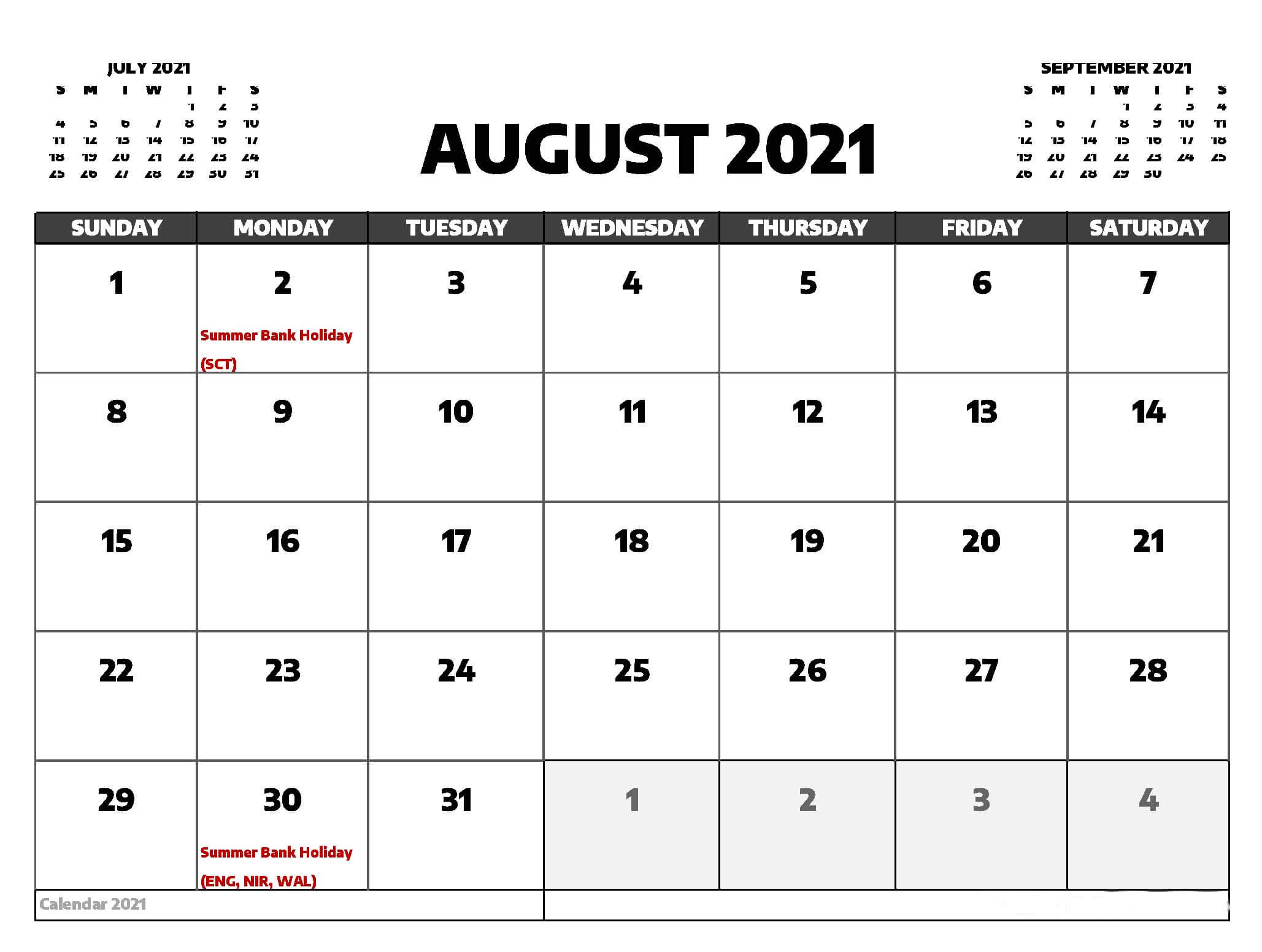 August 2021 Printable Calendar With Holidays Desktop Wallpaper