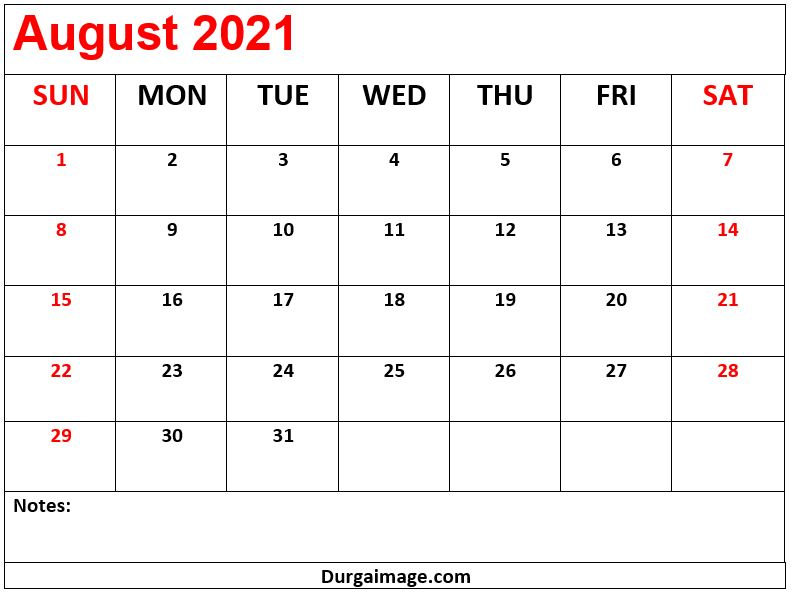 August 2021 Printable Calendar With Notes
