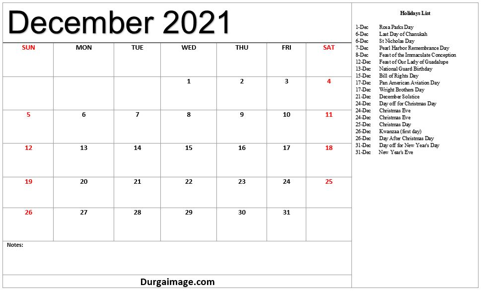 December 2021 Printable Calendar With Holiday LIists and Notes