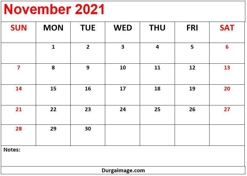 November 2021 Calendar Printable With Notes