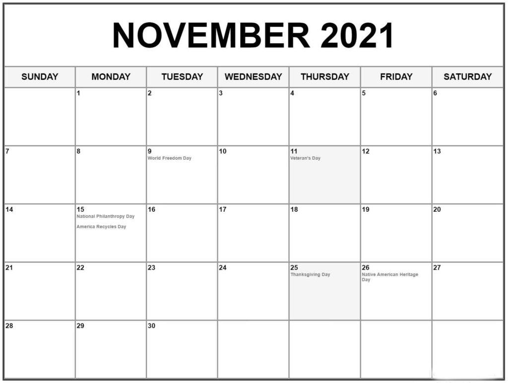 November 2021 Calendar With Holidays Wallpaper