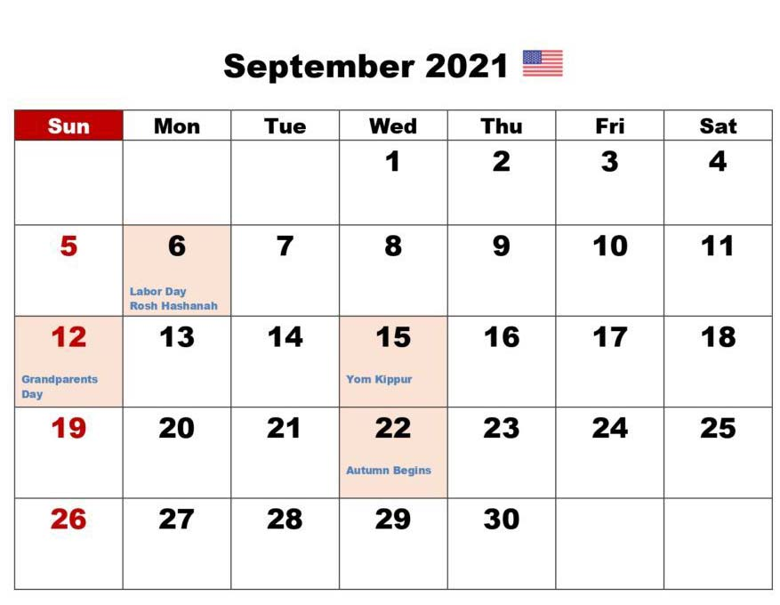 September 2021 Calendar Printable With Holidays