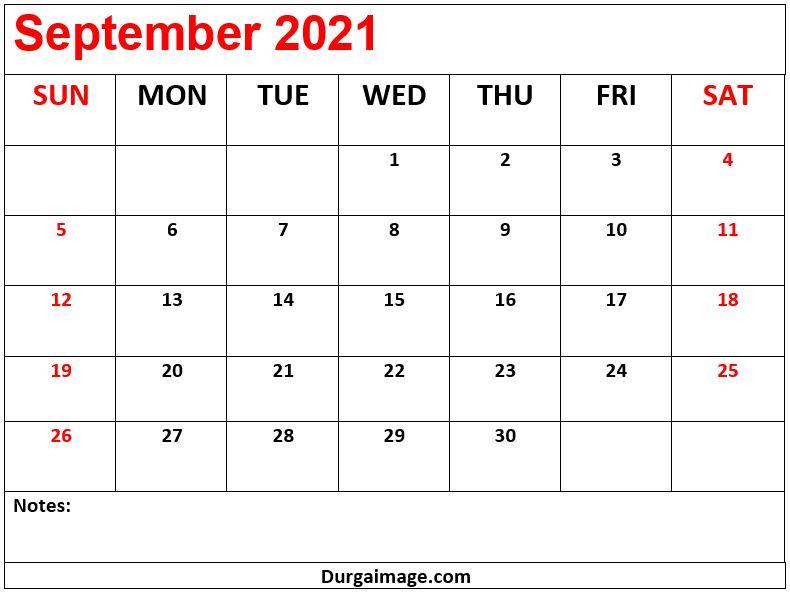 September 2021 Printable Calendar With Notes